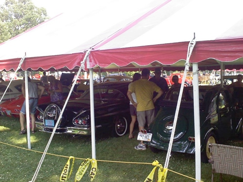 40 by 80 striped tent rental for Wisconsin Dells car show