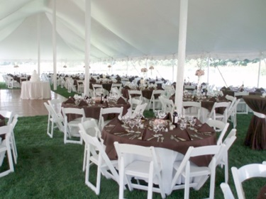 Milwaukee wedding rentals including tent, tables, chairs and linens
