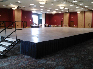 Wisconsin Dells business expo rentals including stage, steps and skirting