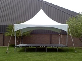 Small frame tent with stage