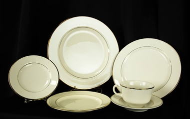 White china with gold edging rental