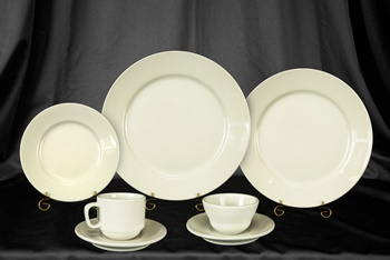 White china place setting rental