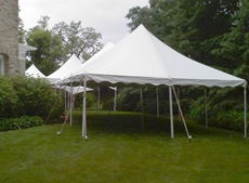 A line of high peak frame tents makes good use of an awkward space in this yard. & Tent Rentals for Microweddings and Elopements | Rent Small Wedding ...