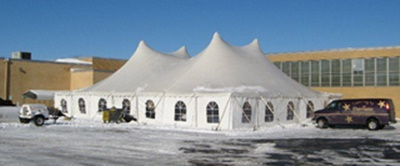 Rent party tents in winter with sidewalls and heaters