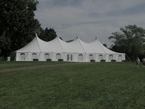 Pole tent rental with sidewalls