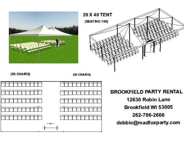 Wisconsin Wedding Ceremony Tent Rental Package For 100