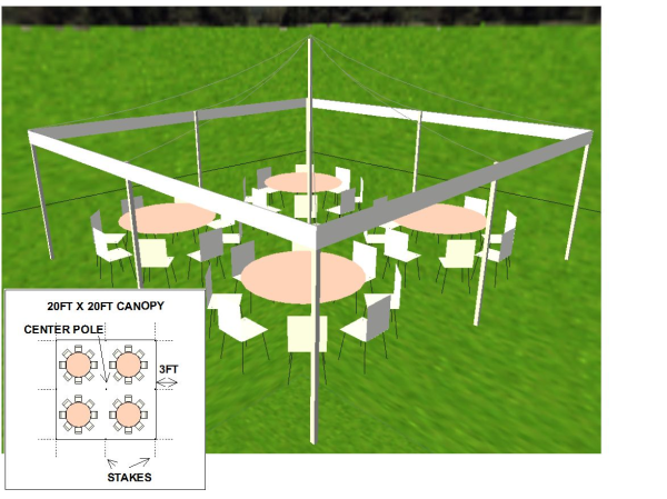 20 by 20 foot canopy layout with round tables