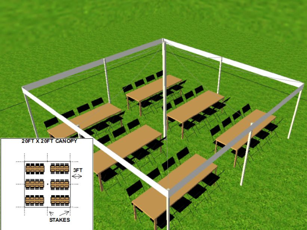 20 by 20 foot Tent Layout for Graduation