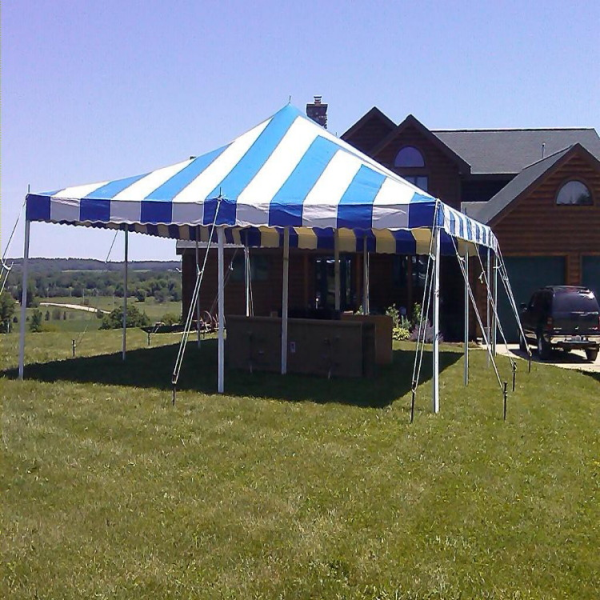 20 by 30 foot Striped Tent rental in Wisconsin