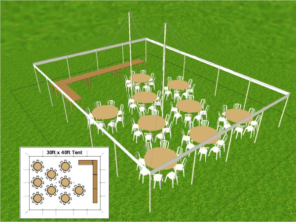 30 foot by 40 foot Tent Layout for Immediate Family
