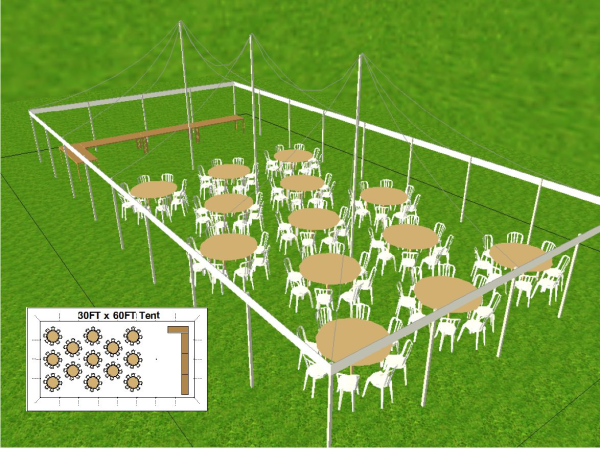 30 by 60 foot Tent Layout for Family and Friends
