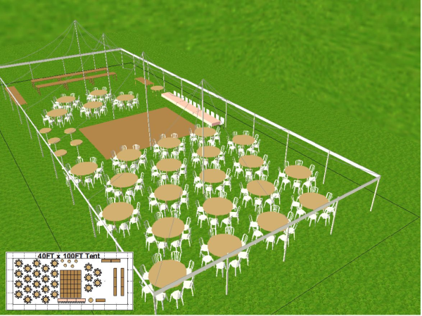 40 by 100 foot Dance Tent Layout