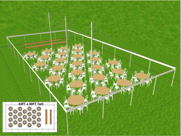 40 by 80 foot Tent Layout
