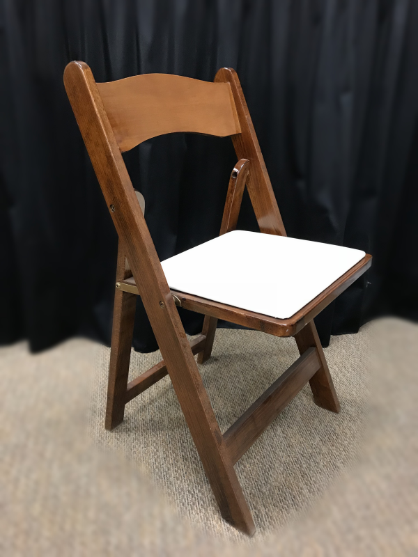 Fruitwood Chair with Padded Ivory Seat