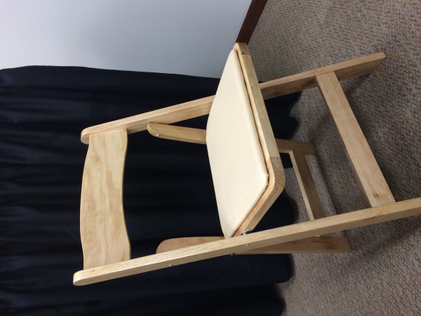 Natural Wood Folding Chair With Padded Seat