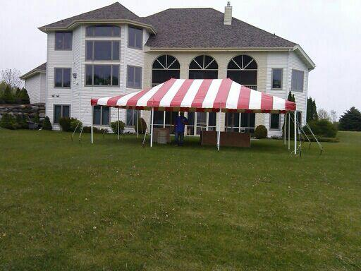 20 by 30 foot Striped Tent rental in Milwaukee and Madison
