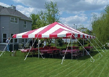 20 by 30 foot Striped Tent for rent in Brookfield & Madison