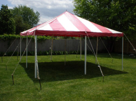 20 by 20 foot Striped Tent