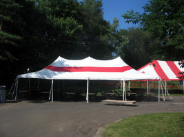 20 by 40 foot Striped Tent