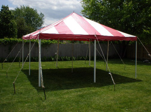 20 by 20 foot canopy  with round tables