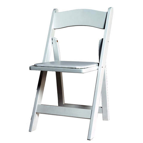White Wood Style Resin, Folding With Padded Seat