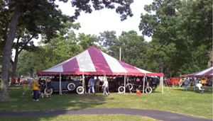 Red striped event tent rentals Wisconsin