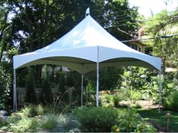 Small frame tent for backyard party.