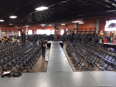 Milwaukee trade show rentals including stage and chairs