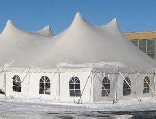 Party tent with white sidewalls and windows
