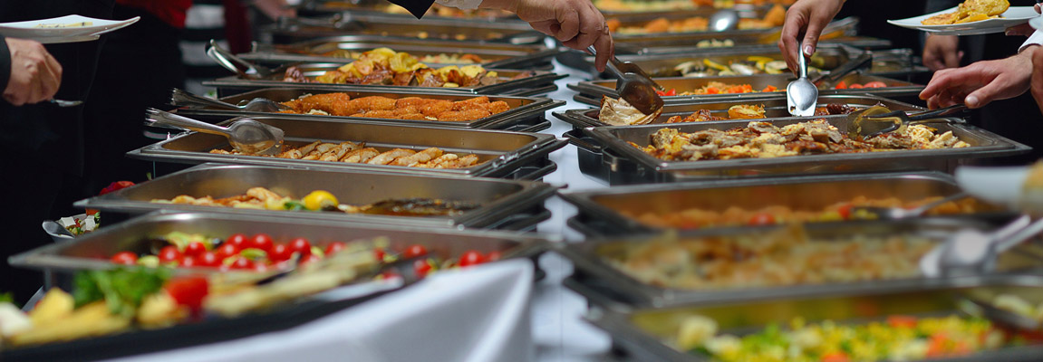 Buffet style food catering trays, pans, utensils